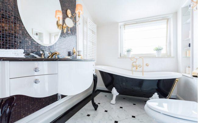Inspiração banheiro preto e branco - SEPAC