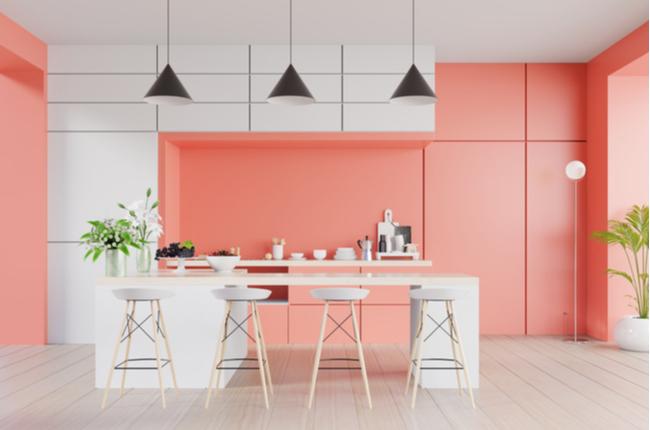 Interior da cozinha com parede de cor coral vivo na cor coral do Ano 2019,3d renderização
