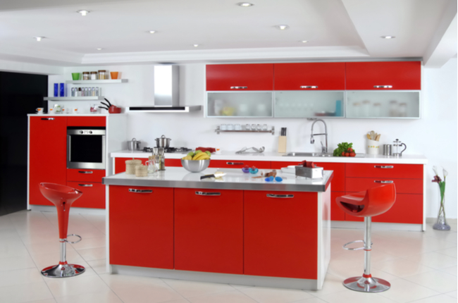 red color modern kitchen in the house