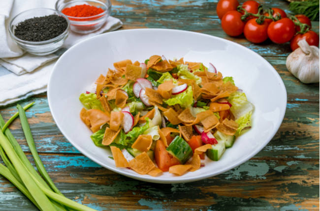 fatouche salad on wooden table