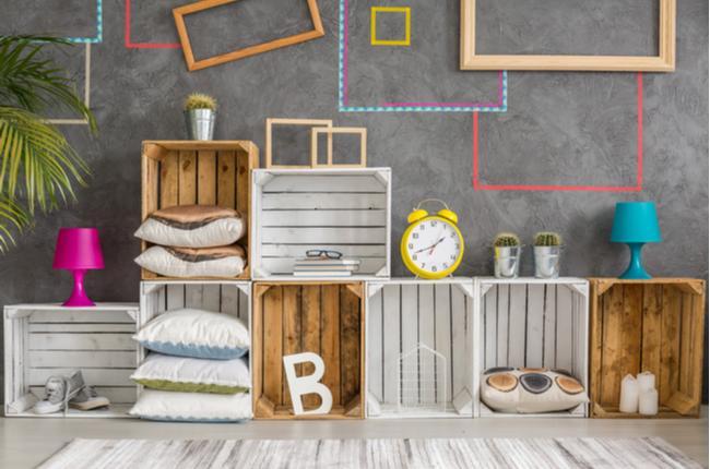 caixotes na decoração - SEPAC