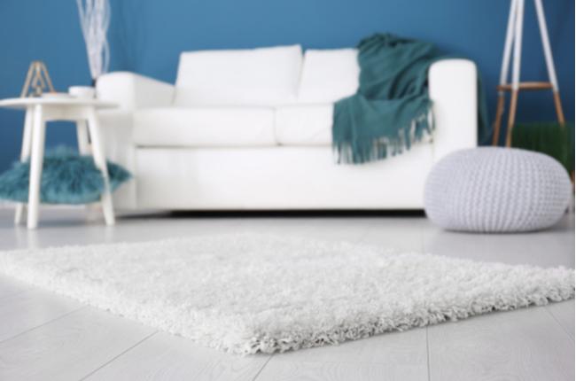 Sala decorada com tapete fibroso e sofá ao fundo para melhorar o isolamento acústico – SEPAC