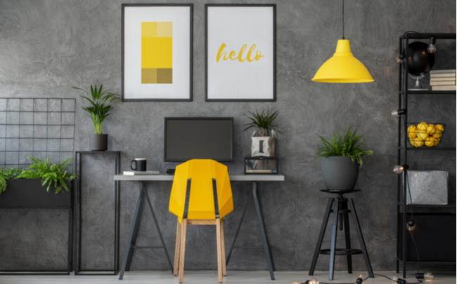 home office moderno decorado com as cores pantone - SEPAC