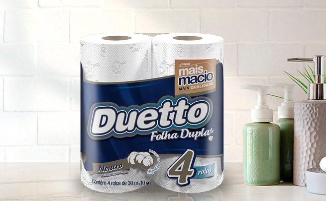 Pacote com 4 rolos do papel higiênico Duetto