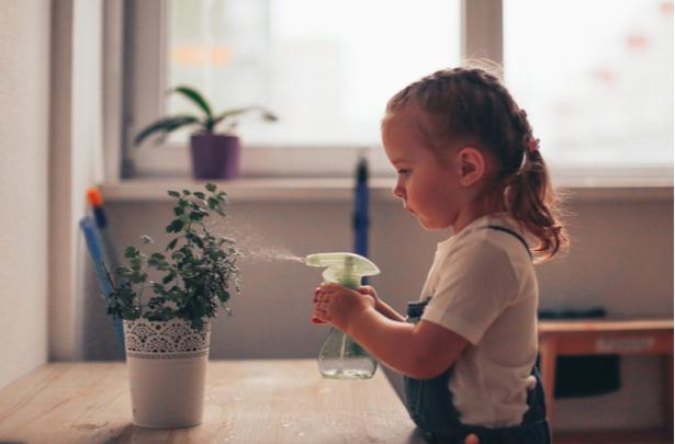 criança independente molhando as plantas